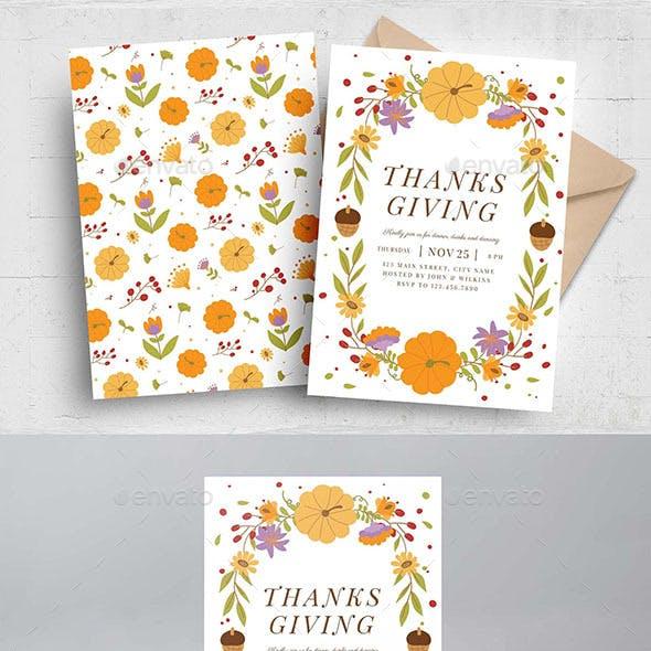 Thanksgiving Flyer Autumnal Border