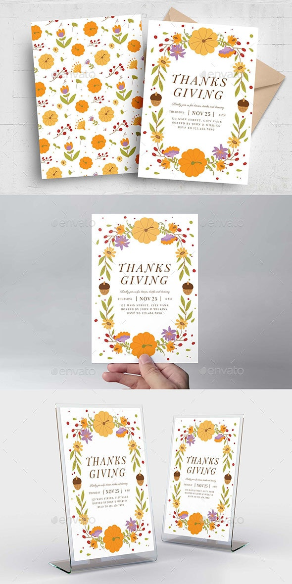 Thanksgiving Flyer Autumnal Border - Holiday Greeting Cards
