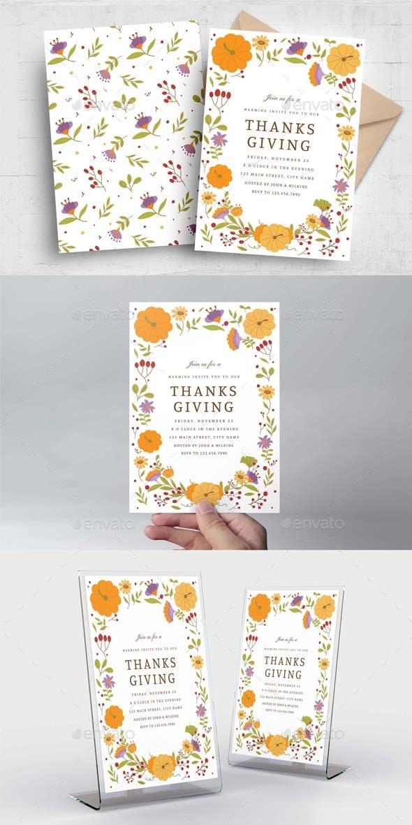 Thanksgiving Greetings Invitation - Holiday Greeting Cards