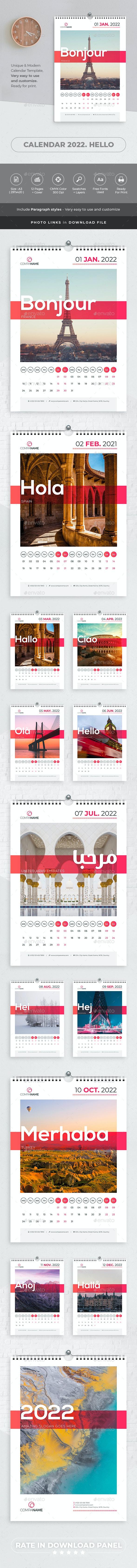 Calendar 2022 Hello - Calendars Stationery