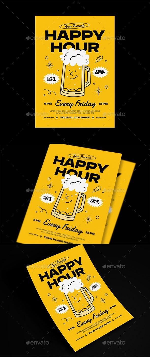 Happy Hour Beer Event Flyer - Events Flyers