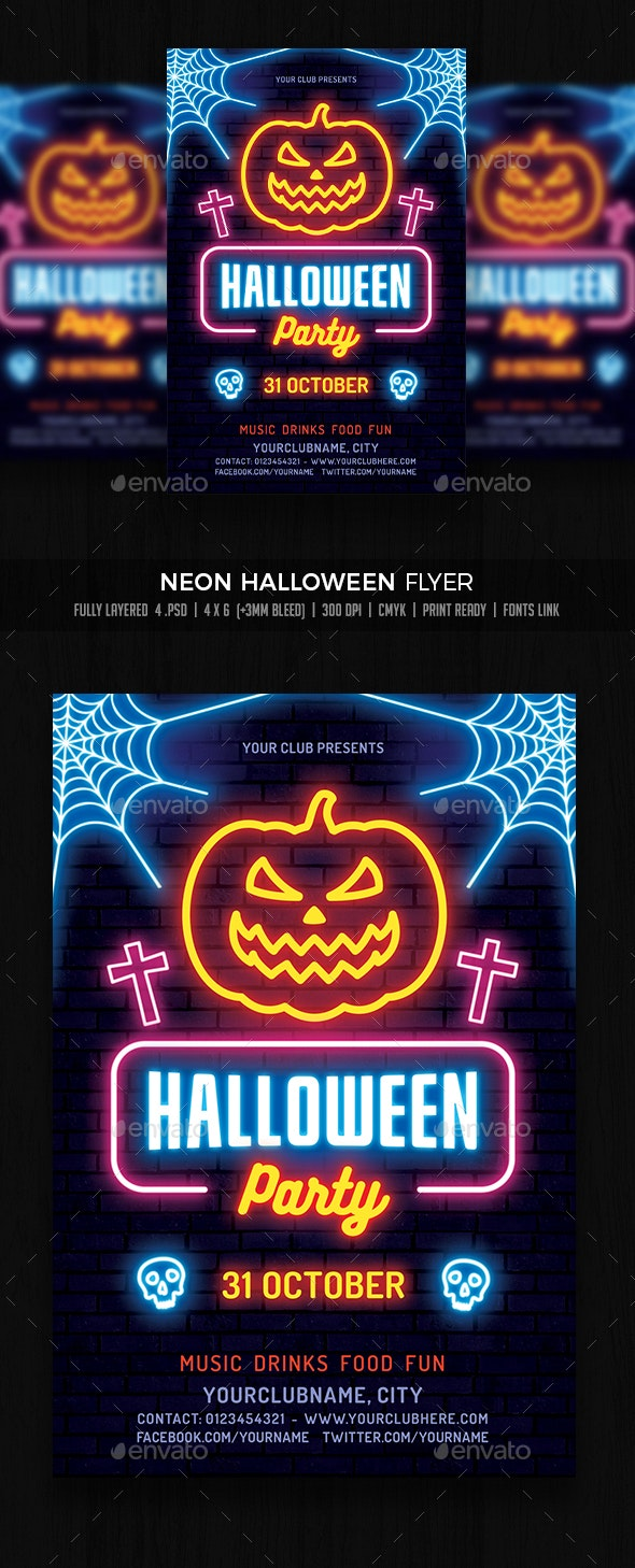 Halloween Neon Flyer - Events Flyers