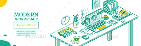 Isometric Modern Business Workplace. - Business Conceptual