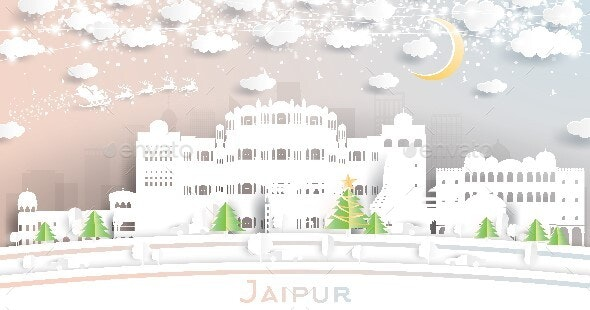 Jaipur India City Skyline in Paper Cut Style with Snowflakes, Moon and Neon Garland. - Buildings Objects