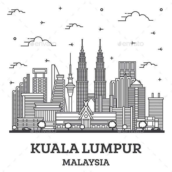 Outline Kuala Lumpur Malaysia City Skyline with Modern Buildings Isolated on White. - Buildings Objects