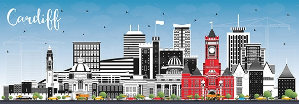 Cardiff Wales City Skyline with Color Buildings and Blue Sky. - Buildings Objects