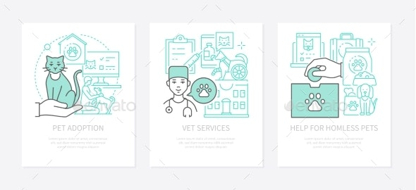 Pet Care  Three Banners in Line Design Style - People Characters