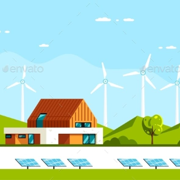 Modern House with Solar Panels and Wind Turbines