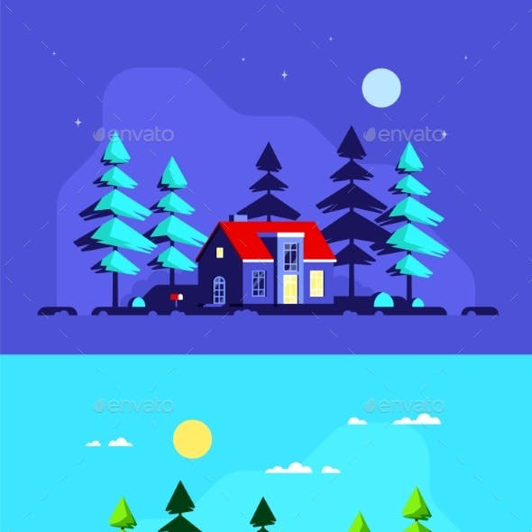 Family Home in the Forest Flat Style Banner