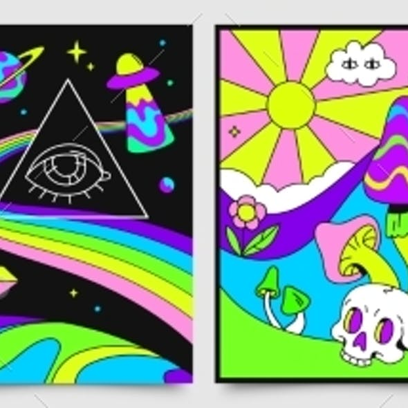 Retro Psychedelic Hippie Posters with Space