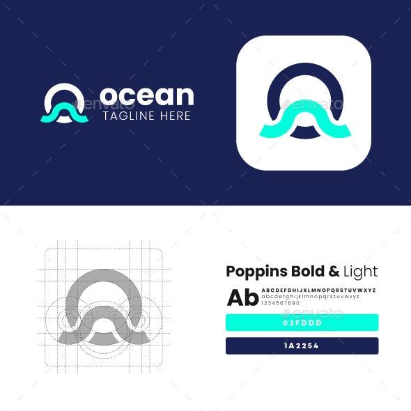 Ocean Wave Letter O Logo Design