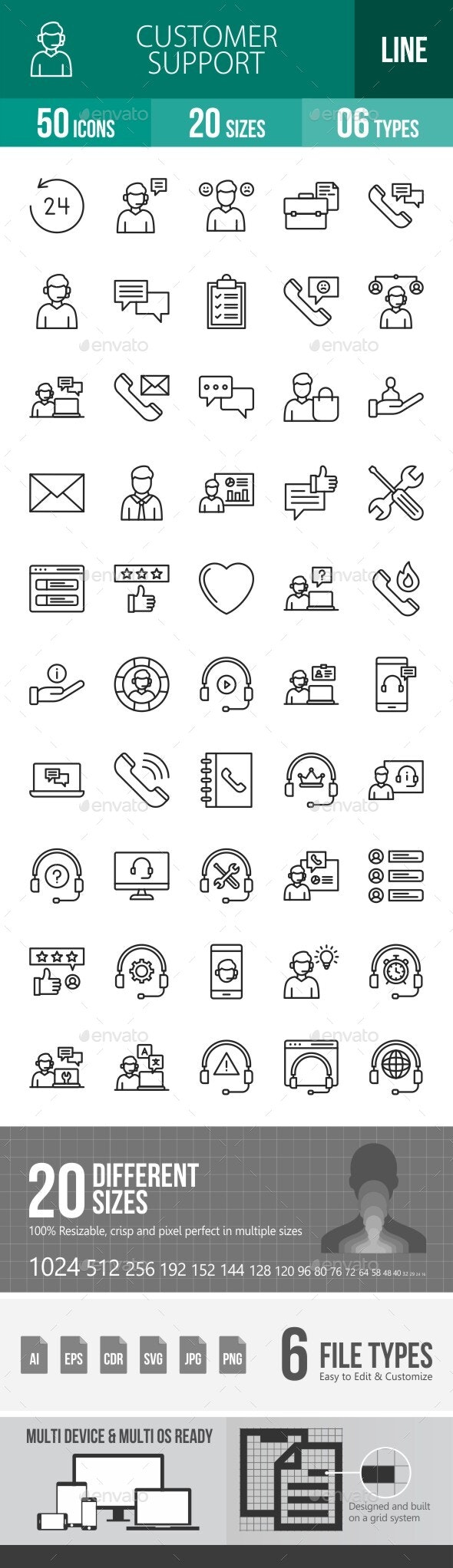 Customer Support Line Icons - Icons