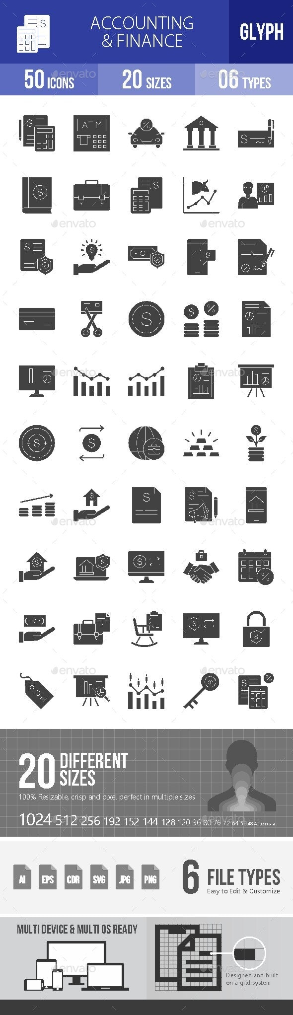 Accounting & Finance Glyph Icons - Icons