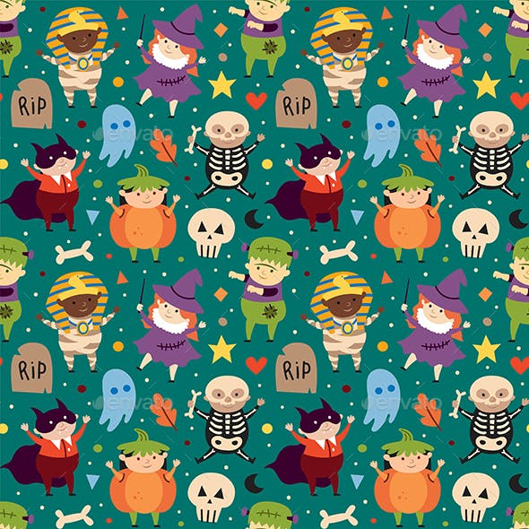 Children in Halloween Costumes of Spooky Creatures. Day of Dead Holiday Seamless Pattern.