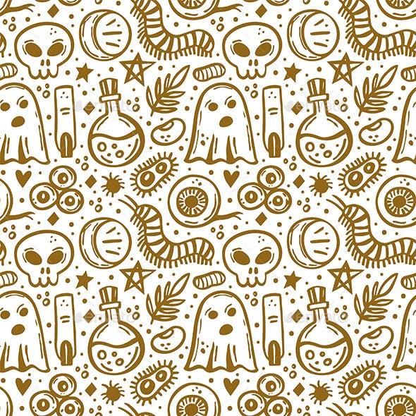 Halloween. Day of Dead. Golden Ink Vector Seamless Pattern.