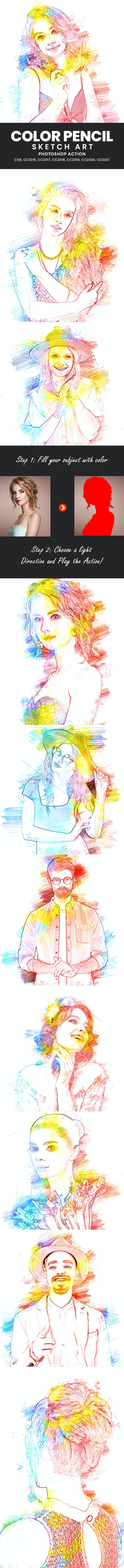 Color Pencil Sketch Art Photoshop Action - Photo Effects Actions