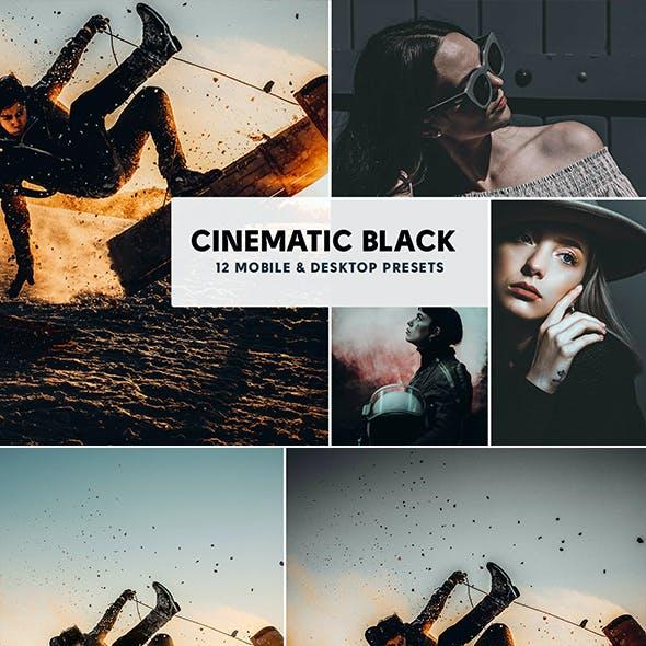 12 Cinematic Black Mobile & Desktop Lightroom Presets