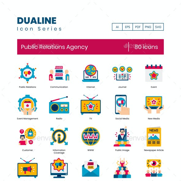 80 Public Relations Agency Icons   Dualine Flat Series