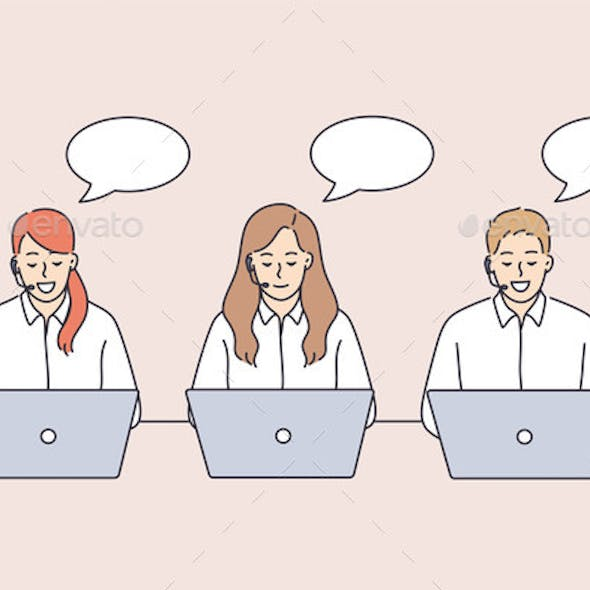 Call Center Workers During Work Concept
