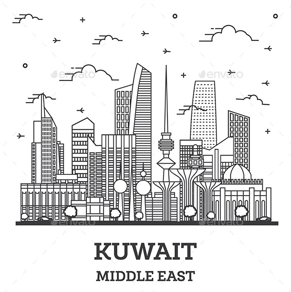 Outline Kuwait City Skyline with Modern Buildings Isolated on White. - Buildings Objects