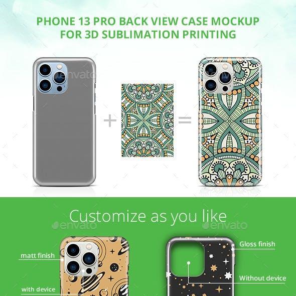 Phone 13 Pro 3d Case Design Mockup- Back View