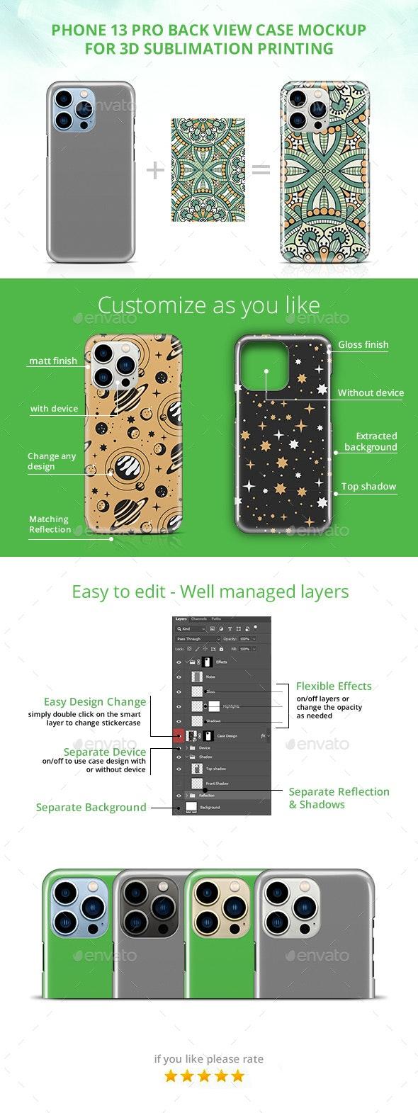 Phone 13 Pro 3d Case Design Mockup- Back View - Product Mock-Ups Graphics