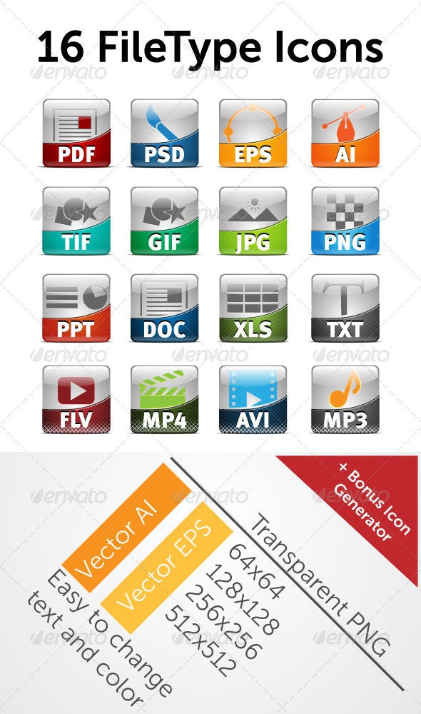 16 File Type Icon - Web Icons