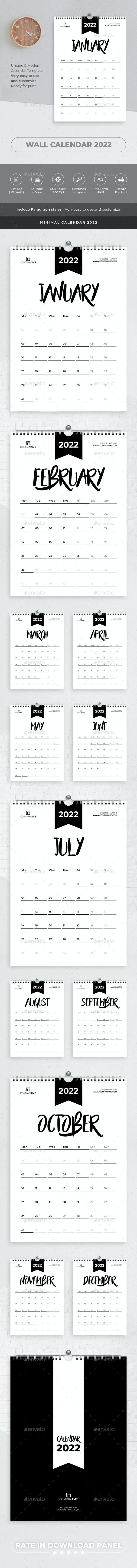 Minimal Calendar 2022 - Calendars Stationery