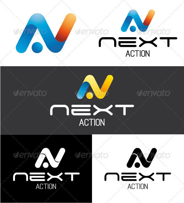 Next Action Logo - Letters Logo Templates