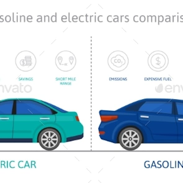 Eco Friendly Electric Cars and Gasoline Car