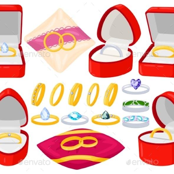 Cartoon Wedding Engagement Jewel Golden and Silver