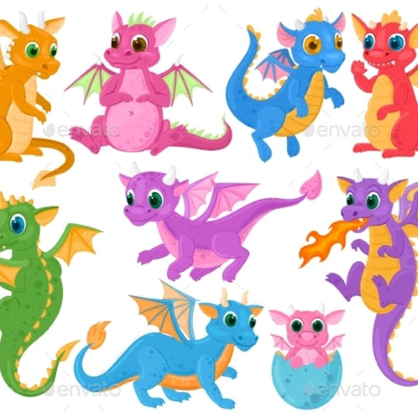 Cartoon Cute Baby Fairytale Fantasy Dragons