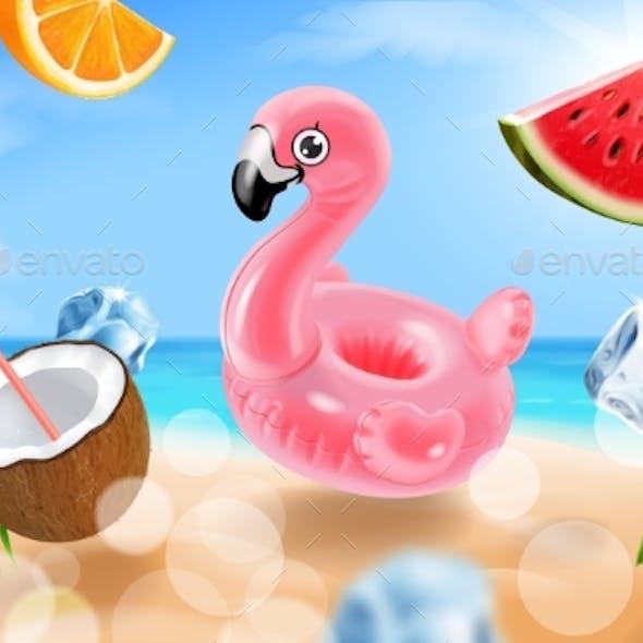 Hello Summer Tropical Background Ocean Flamingo