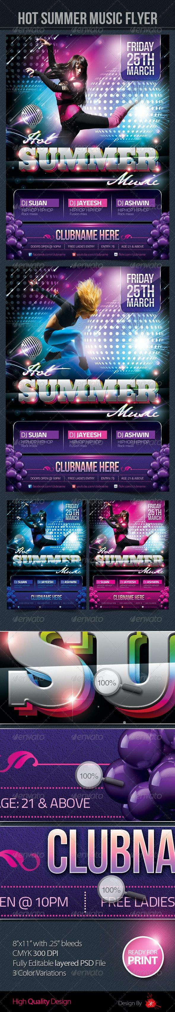 Hot Summer Music Flyer - Clubs & Parties Events
