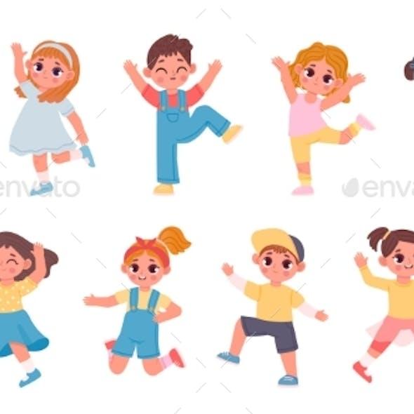 Cute Cartoon Children Boys and Girls Dancing