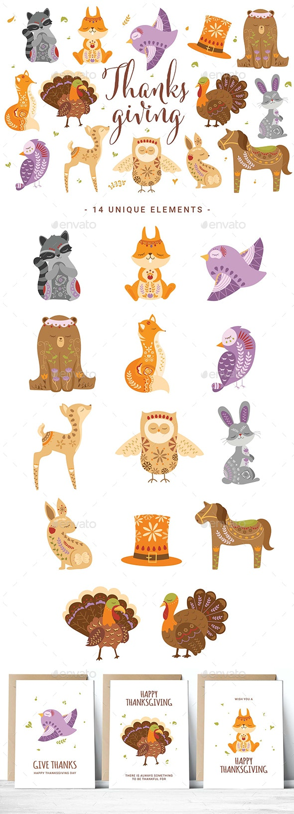 Thanksgiving Woodland Creature Clipart - Objects Illustrations