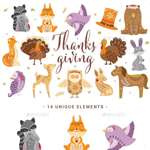 Thanksgiving Woodland Creature Clipart