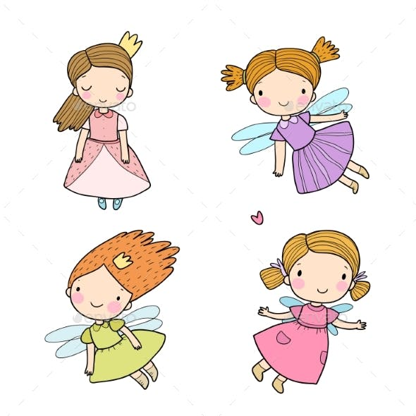 Cute Cartoon Fairies and Princesses