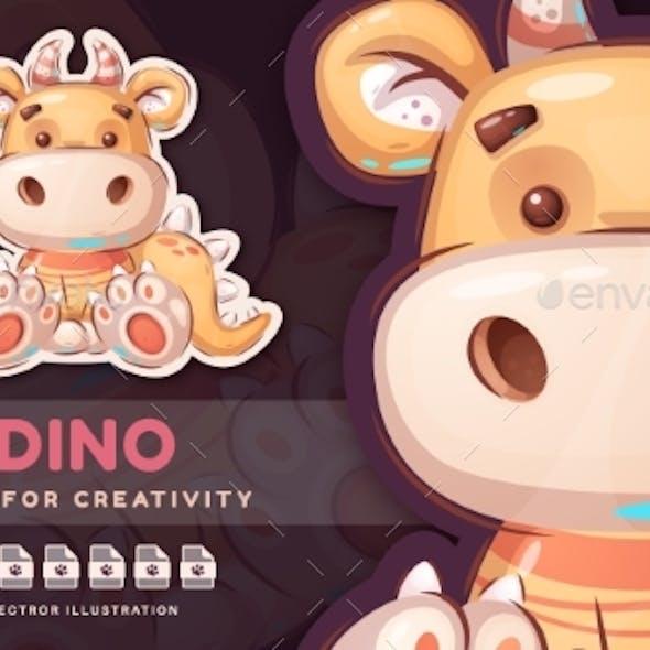 Cartoon Character Childish Dinosaur  Cute Sticker