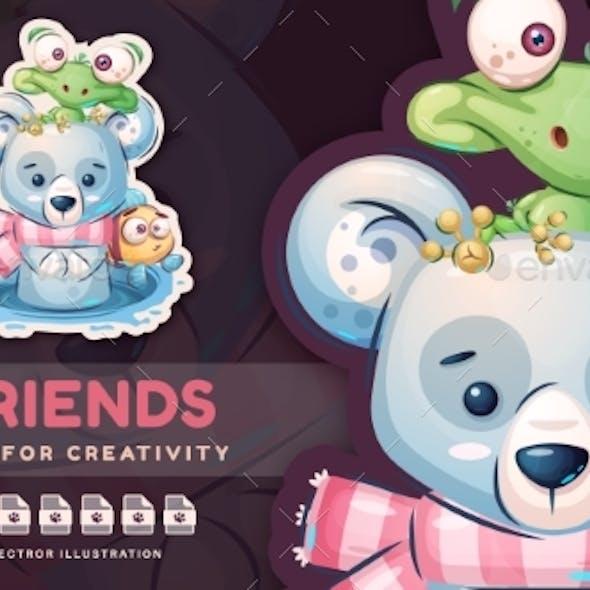 Cartoon Character Animal Friends  Cute Sticker