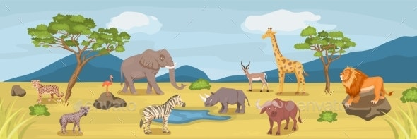 African Savannah Wild Animal Set - Nature Backgrounds