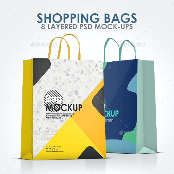 Shopping Bags 8 PSD Mockups