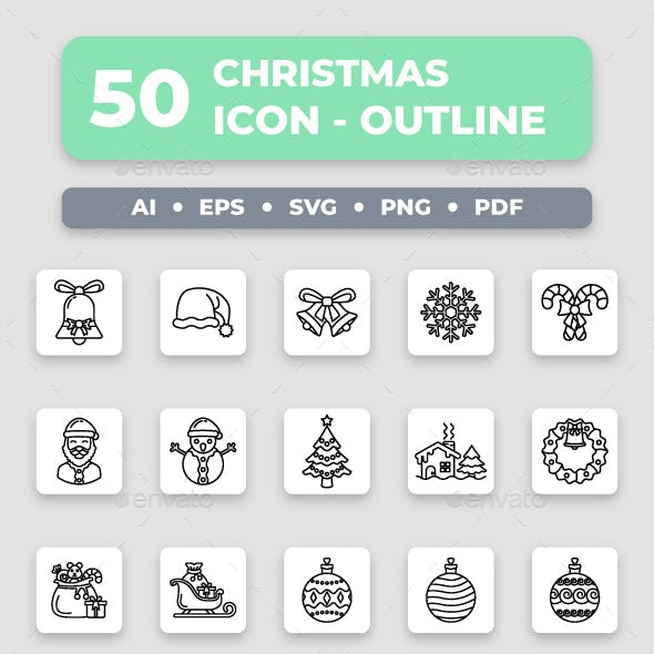 Christmas - Outline Collection Icon Set