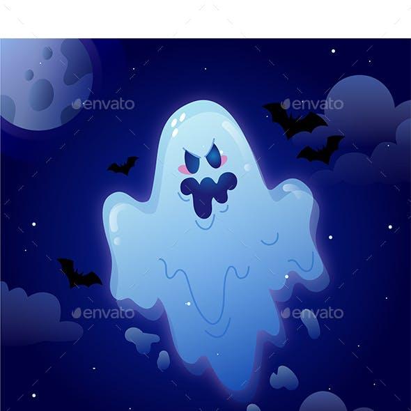 HandDrawn Flat Blue Halloween Ghost