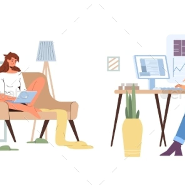 Working From Home Vs Office Flat Illustration