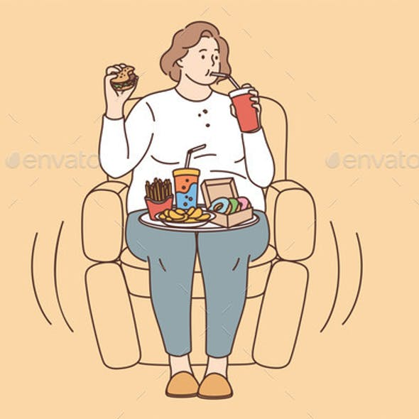 Unhealthy Eating Fatness and Overeating Concept