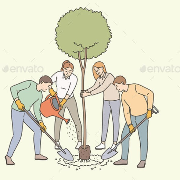 Agriculture Growing Tree and Planting Concept