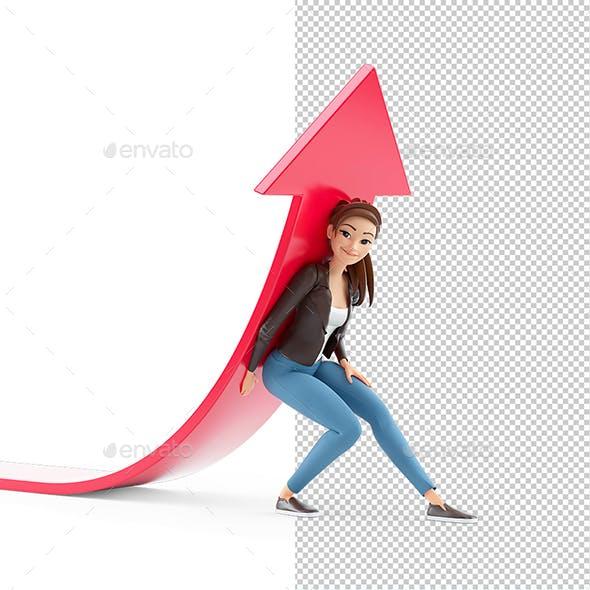 3D Cartoon Woman Lifting Up Red Arrow