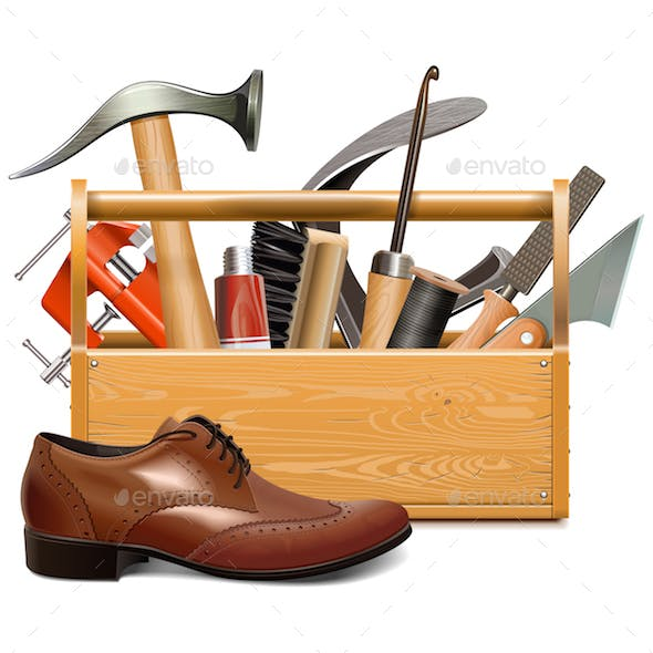 Vector Cobbler Toolbox with Brown Shoe