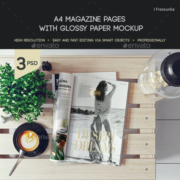 a4 Magazine Pages With Glossy Paper Mockup